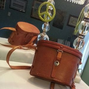 Vintage leather binocular case crossbody bag EVC!!